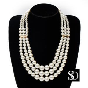 ラインストーン 付き 3連 パールネックレス 結婚式 ネックレス necklace パーティー パーティ 謝恩会 フォーマル パールネックレス ac00826|smileorchid