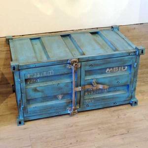 コンテナキャビネット (BLUE) 横型 37190 ダメージ加工|smilevillage