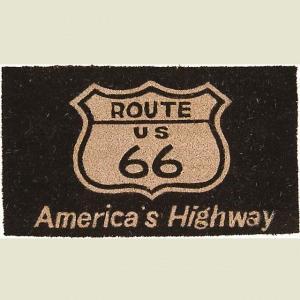 ココナツ玄関マット コイヤーマット COIR MAT ルート66ブラック Americas Highway Route66 smilevillage