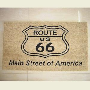 ココナツ玄関マット コイヤーマット COIR MAT ルート66ホワイト Americas Highway Route66 smilevillage
