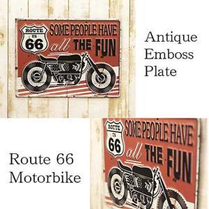 ブリキ看板 アンティークエンボスプレート [レクト Route 66 Motorbike] smilevillage