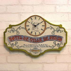 壁掛時計 ビンテージ レーベル クロック[Hotel de Paris]|smilevillage