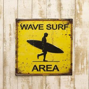 ブリキ看板 アンティークエンボスプレート [Wave Surf]|smilevillage