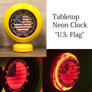 テーブルトップネオンクロック U.S. Flag|smilevillage