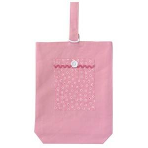 40%OFF SALE! 子供用 シューズバッグ シューズ袋 上履き入れ ピンク小花 ナイロン裏地付|smilish