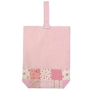 40%OFF SALE! 子供用 シューズバッグ シューズ袋 上履き入れ ピンクパッチワーク ナイロン裏地付|smilish