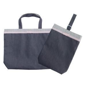 35%OFF SALE! 子供用 レッスンバッグシューズ袋セット グレー×ローズリボン|smilish