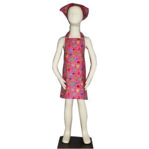 子供用エプロン三角巾セット ピンクハート L/LL(L身長135〜150cm / LL身長150〜160cm)|smilish