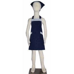 子供用エプロン三角巾セット NEWブルーストライプ花 S/M(S 身長 100〜120cm/M 身長120〜135cm)|smilish