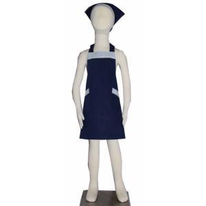 子供用エプロン三角巾セット NEWブルーストライプ花 L/LL(L身長135〜150cm / LL身長150〜160cm)|smilish