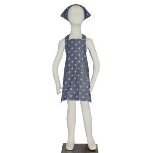 子供用エプロン三角巾セット ダンガリースター S/M(S 身長 100〜120cm/M 身長120〜135cm)|smilish