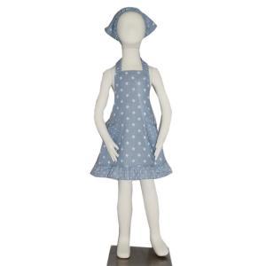 子供用エプロン三角巾セット フリルダンガリースター L/LL(L身長135〜150cm / LL身長150〜160cm)|smilish