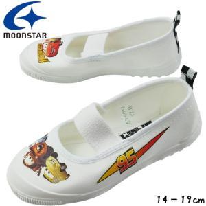 14cm^19cm ムーンスター なかよし DN 05 ホワイト スクール上履き Moon Star ディズニー カーズ Disney Cars キッズ スクール WHITE 上履き 学童|smw