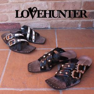 ラブハンター LOVE HUNTER 靴 メンズ サンダル 2115 カジュアル お兄系サンダル スタッズ アミベルト BLACK(ブラック) BLACKWHITE(ブラックホワイト)|smw