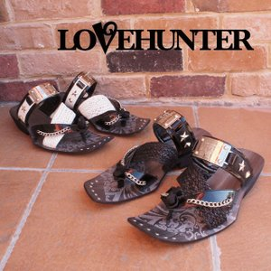ラブハンター LOVE HUNTER 靴 メンズ サンダル 2117 カジュアル お兄系サンダル チェーン スタッズ アミベルト トングサンダル|smw