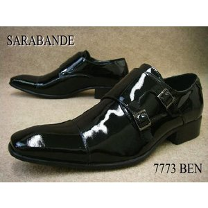 サラバンデ 靴 7773 BEN / SARABANDE メンズ ビジネスシューズ フォーマル ダブルモンクストラップ 冠婚葬祭 ブラックエナメル smw