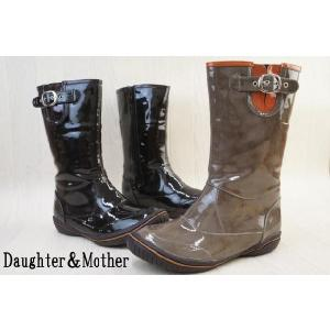 ミドル丈エナメルレインブーツ 1510 / Daughter&Mother レディース レインブーツ ラバーブーツ ミディアム RAIN BOOTS 長靴 グレー ブラック smw
