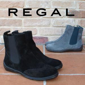 リーガル REGAL レディース ブーツ F30G サイドゴアブーツ スエード 保温 吸湿 ウィングチップ ショートブーツ ローヒール クロスウォーム