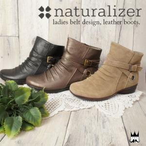 ナチュラライザー naturalizer レディース N183 本革ブーツ レザー ショートブーツ クロスベルト ベルト付 スエード レザー ヒール3cm|smw