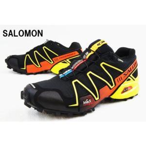 サロモン 366741 スピードクロス 3 GTX BLACK/CANARY YELLOW/George orange-X SALOMON SPEEDCROSS 3 GTX メンズ スニーカー トレイル ウォーキング|smw