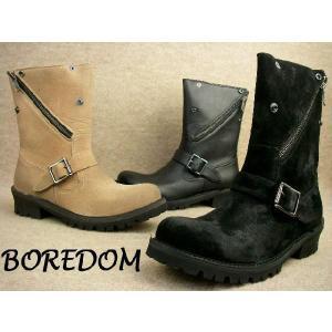 送料無料 BOREDOM 0058 ジップアップショートブーツ BLACK・BLK/S・BEIGE全【ボアダム メンズブーツ BOOTS ブラック・ブラックスエード・ベージュ|smw