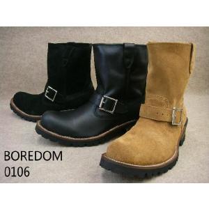 ボアダム 靴 0106 ショートエンジニアブーツ / BOREDOM メンズ カジュアル ブーツ エンジニアブーツ ショート丈 ベージュスエード ブラック ブラックスエード|smw