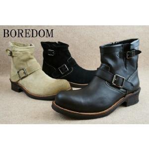 ボアダム 靴 0109 ショートエンジニアブーツ / BOREDOM メンズ カジュアル ブーツ ショート丈 BOOTS ブラック ブラックスエード ベージュスエード|smw
