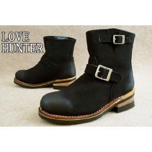 ラブハンター 902 ブラック/スエード ショート丈エンジニアブーツ / LOVE HUNTER メンズ カジュアル ショートブーツ ブーツ BOOTS BLK/S アメカジ ベルト付き|smw