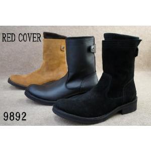 レッドカバー 9892 靴 本革リブニット付きエンジニアジップブーツ/ RED COVER メンズ カジュアル ブーツ ミドル丈 BLKS・ BLK・ BRNS 2WAY|smw