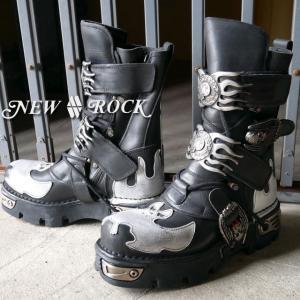 ニューロックM.145-C3 ブラック / NEW ROCK メンズブーツ レザーシューズ バックル スカル 髑髏 パンクス ロッカー|smw