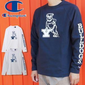 チャンピオン Champion アパレル メンズ C5-Q404 T1011 ティーテンイレブン ラグランロングスリーブTシャツ ハンサム・ダン マスコット ブルドッグ 犬 長袖 丸首|smw