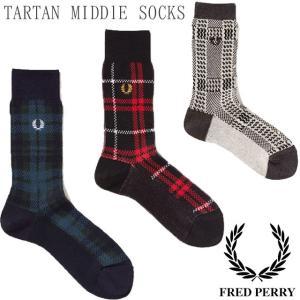 フレッドペリー FRED PERRY 靴下 メンズ F19887 タータンチェックミドルソックス ソ...
