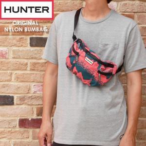 ハンター HUNTER バッグ メンズ レディース UBP7020NSP オリジナルナイロンバムバッグ リズミカルピンクストームプリント ショルダーバッグ ボディバッグ 耐水|smw