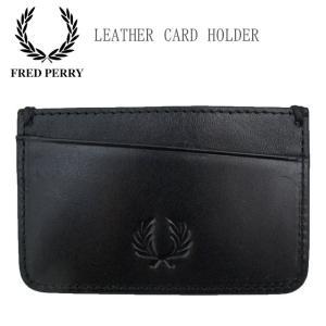 フレッドペリー FRED PERRY カードケース メンズ レディース L5287 レザーカードホルダー カード入れ 名刺入れ パスケース レザー 牛革 本革 黒 smw