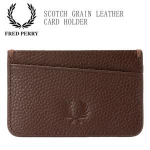 フレッドペリー FRED PERRY カードケース メンズ レディース L5290 レザーカードホルダー カード入れ 名刺入れ パスケース レザー 牛革 本革 茶 smw