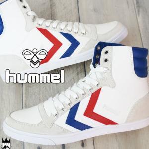 ヒュンメル hummel スリマー スタディール ハイ レディース スニーカー 63-111K Slimmer Stadil High ハイカット 9228 ホワイト/ブルー/レッド|smw