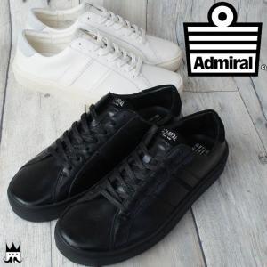 アドミラル Admiral バーウィック メンズ スニーカー BERWICK ローカット スムース レトロ シンプル 2色 ブラック ホワイト 黒 白|smw