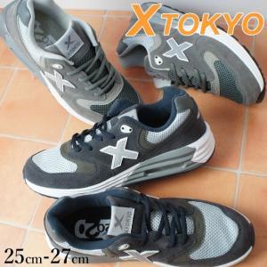 エックストーキョー X TOKYO メンズ スニーカー 2100 ネイビー/グレー ダークグレー ローカット smw