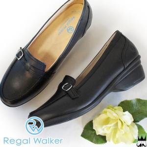 リーガルウォーカー REGAL WALKER レディース パンプス HB09 ベルトモカシン 本革 レザー ワイズ3E 4E 調節可能 オフィス ブラック|smw