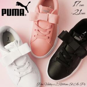 プーマ PUMA ビッキー v2 リボン SL AC PS スニーカー 女の子 子供靴 キッズ ジュニア 370518 ベルクロ ローカット ブラック ホワイト ピンク|smw