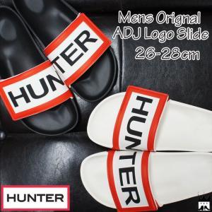 ハンター HUNTER メンズ シャワーサンダル MFD9012EVA MENS ORIGINAL ADJ LOGO SLIDE コンフォートサンダル シャワサン スライド ブラック ホワイト|smw