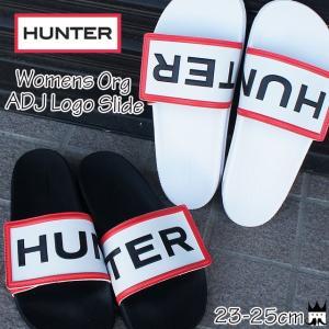ハンター HUNTER レディース シャワーサンダル WFD4018EVA WOMENS ORG ADJ LOGO SLIDE コンフォートサンダル シャワサン スライド ブラック ホワイト|smw