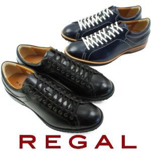リーガル REGAL メンズ スニーカー 57RR ブラック ネイビー レザー レースアップシューズ...