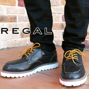 リーガル REGAL メンズ 56NR AH アメリカンワークシューズ 4アイレット 替え紐付き B ブラック|smw