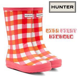 ハンター HUNTER キッズ ファースト ギンガム レインブーツ 女の子 子供靴 ジュニア KFT5033RMA レインシューズ 防水 ギンガムチェック ピンク|smw