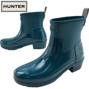 ハンター HUNTER レインブーツ レディース WFS2037DUO W リファインド ロー ヒール バイカー グロスデュオ ラバーブーツ ショートブーツ 長靴|smw