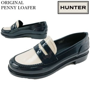 ハンター HUNTER ローファー レディース WFF1006RGL オリジナル ペニー 防水 レインシューズ 雨具 ネイビー/オフホワイト|smw