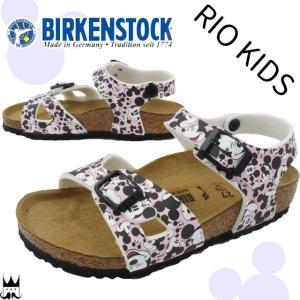 ビルケンシュトック BIRKENSTOCK リオ キッズ 女の子 子供靴 ジュニア サンダル 0334983 Rio Kids ミッキーマウス コラボ ディズニー コンフォートサンダル|smw