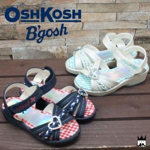 オシュコシュ OSHKOSH 女の子 子供靴 キッズ チャイルド サンダル ハート バックル ガールズ 女児 ヒール約3.5cm 花柄 ギンガムチェック マジックテープ C400|smw
