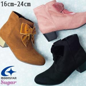 ムーンスター MoonStar 女の子 子供靴 キッズ ジュニア ブーツ SG J502 ショートブーツ リボン ブラック ピンク ブラウン|smw